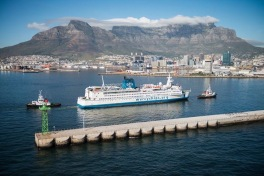 The ship docked in beautiful Capetown